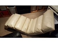 Cream faux leather fully foldable chair bed