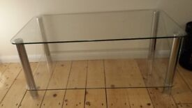 Double layer glass tv table with chrome legs