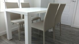New modern 120cm White High Gloss Dining Table with 4 Beige Chairs