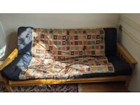 Lovely Double Solid wood futon with thick mattress