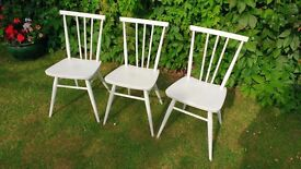 "3 1960's Ercol Dining Chairs in Farrow & Ball ""Pointing"""