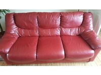3 seater and 2 seater real leather sofas both in good condition