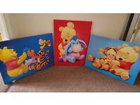 Set of three Winnie the Pooh pictures
