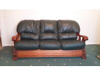 Green 3 Seater Leather Sofa and 2 Chairs Wooden arms some wear on the leather of the sofa seats