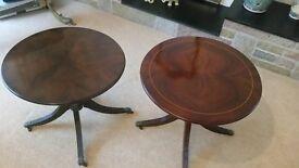 Two beautiful elegant period circular coffee tables