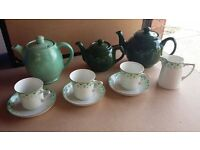 JOB LOT:: tea cups. saucers. tea plates. plates. bowls. tea pots. jugs. tea sets