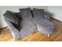 DFS GREY CORNER CHAISE SOFA AND CUDDLE CHAIR