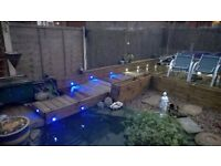 32mm TIMBER DECKING - 9sqr mtrs LINED / OILED - with LIGHTING