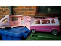 Barbie train and VW van