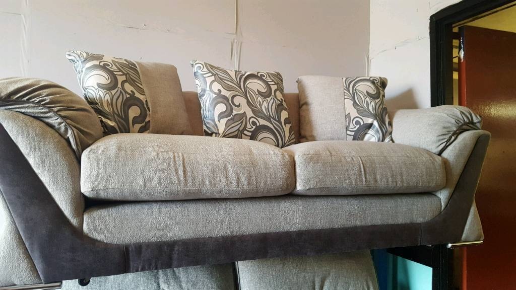 Ex-display Grey and Teal 3 Seater Sofa