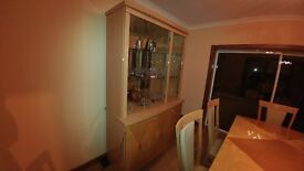 dinning room display cabinet with storage and built in lights mint condition