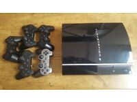 PS3 , contollers and 22 excellent games and 5 controllers