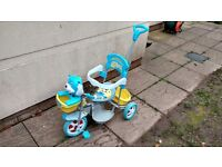 toddler and child trike with parents steering handle