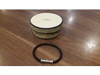 Links of London Venture Mens Black Leather Bracelet.