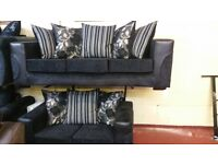 THE HALO 3+2 HAND MADE SOFA IN BLACK GREY FLORAL FABRIC WITH BODY IN SNAKE BLACK £399