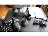 Digital Camera - Olympus E400 SLR camera, 2 Zoom Lenses, flash, case, charger & manuals