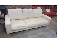 Leather Very Pale Green Large Three-seater Sofa and Armchair in Good Condition