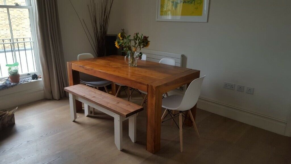Magnificent Solid Wood Dining Table Bench And Chair Set In Waterloo London Gumtree Caraccident5 Cool Chair Designs And Ideas Caraccident5Info