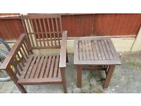 Garden Furniture 1 x Bench, 2 x chairs, 1 x large table and a foot stool