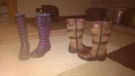 2 pairs of girls size 11 boots