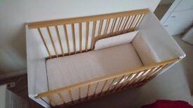 Baby Cot Set with Waterproof Mattress & Bumper Cushion Pads