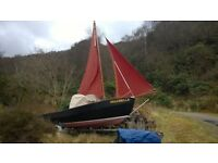 CORNISH COBLE 16' SAILING DINGHY + BOWSPRIT with 4 STROKE HONDA OUTBOARD (newly serviced)