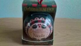 BAUBLE MONEY BOX CHRISTMAS DECORATION MERRY CHRISTMAS NICOLA BOXED BRAND NEW