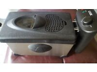 Black and silver deep fat fryer
