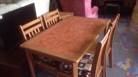 Tile top pine table and 4 chairs