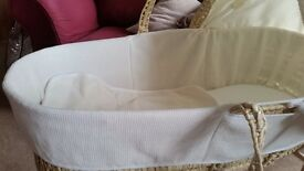 Isabella Alicia Cream moses basket cover, hood + blanket