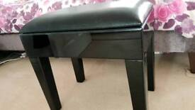 Leather and glass stool