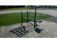 Weight bench and weights.