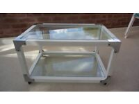 Modern wheeled white and glass Coffee Table VGC.