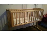 Mothercare swinging crib including new mattress