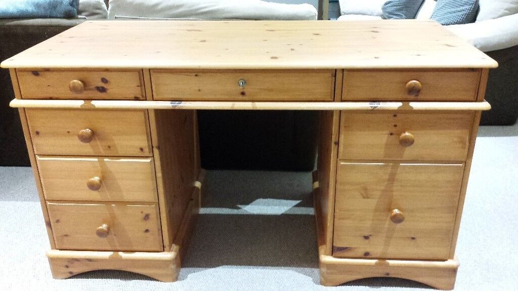 Solid Pine Office Desk And Swivel Chair