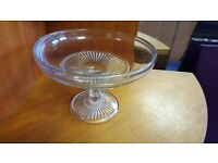 Glass Cake Stand with Inner Ribbed Circular Ornamentation