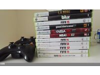 XBOX 360 Slim, 2 Wireless Controllers, 11 Games inc. Fifa 16, GTA V