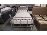 BRAND NEW BENTLEY DESIGNS KRYSTAL & SHINY CHROME DOUBLE BEDSTEAD & SEMI ORTHO MATTRESS CAN DELIVER