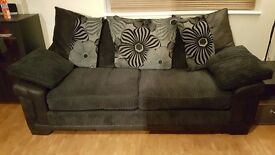 Black and grey 3 seater sofa in good condition.