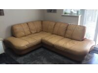 Leather corner sofa camel colour