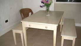 Hand made Norwegian style kitchen/dining room table, two benches & coffee table