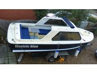 ELECTRIC DAY BOAT . 17FT SALTERS COMMODORE . NEW MOTOR & LOTS MORE