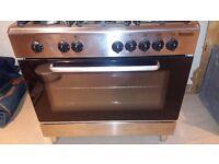 Baumatic Stainless Steel Dual Fuel Range Cooker with 5 burner gas hob, includes wok burner