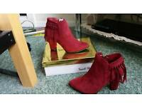 Burgundy suede ankle boots size 6