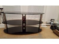 Large Black oval glass 3 tier tv unit