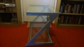 Silver coloured metal and glass 3 shelf TV stand