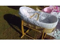 Moses basket, mattress, fitted sheets and rocking stand