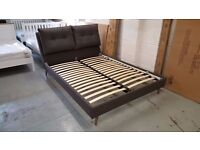 BRAND NEW DOUBLE CUSHIONED HEADBOARD GREY FABRIC KING SIZE BED **CAN DELIVER**