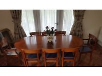 GRANGE MADE FRANCE CHERRYWOOD EXTENDING DINING TABLE & SIX CHAIRS
