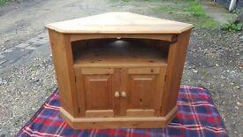 Solid pine TV corner cabinet